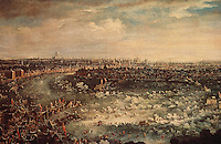 """London:   """"Frost Fair on the Thames"""" by Jan Griffier the Younger, 1739. Guildhall Art Gallery.  Reference only."""