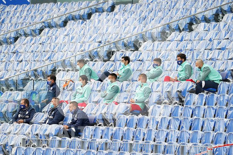 Getafe CF's substitute players during La Liga match. October 3, 2020. (ALTERPHOTOS/Acero)