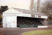 The main stand at British Timken (Duston) Football Club, Cotswold Avenue, Duston, Northamptonshire, pictured on 15th October 1985