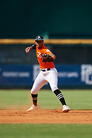 Randal Diaz-Morales (7) of Leadership Christian Academy in Toa Alta, PR during the Perfect Game National Showcase at Hoover Metropolitan Stadium on June 18, 2020 in Hoover, Alabama. (Mike Janes/Four Seam Images)