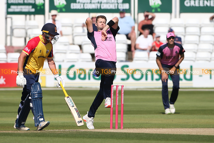 Tom Helm in bowling action for Middlesex during Essex Eagles vs Middlesex, Vitality Blast T20 Cricket at The Cloudfm County Ground on 18th July 2021