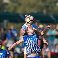 Allston, MA - Saturday August 19, 2017: Morgan Andrews during a regular season National Women's Soccer League (NWSL) match between the Boston Breakers (blue) and the Orlando Pride (white/light blue) at Jordan Field.