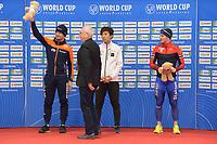 SPEEDSKATING: 23-11-2019 Tomaszów Mazowiecki (POL), ISU World Cup Arena Lodowa, Podium 1500m Men Division B, Douwe de Vries (NED), Seitaro Ichinohe (JPN), Kristian Ulekleiv (NOR), ©photo Martin de Jong