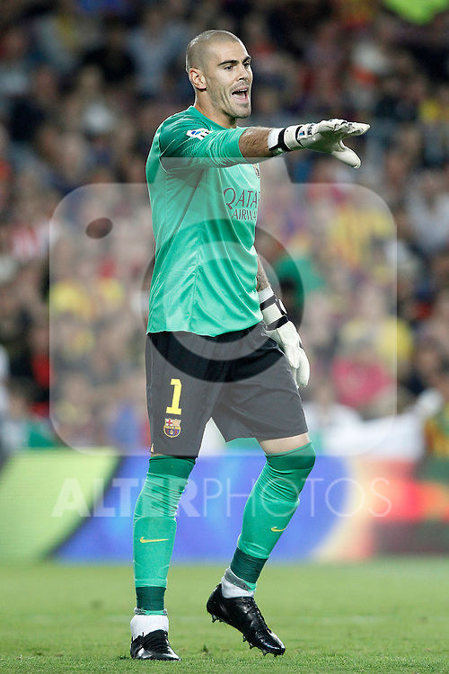 FC Barcelona's Victor Valdes during Supercup of Spain 2nd match.August 28,2013. (ALTERPHOTOS/Acero)