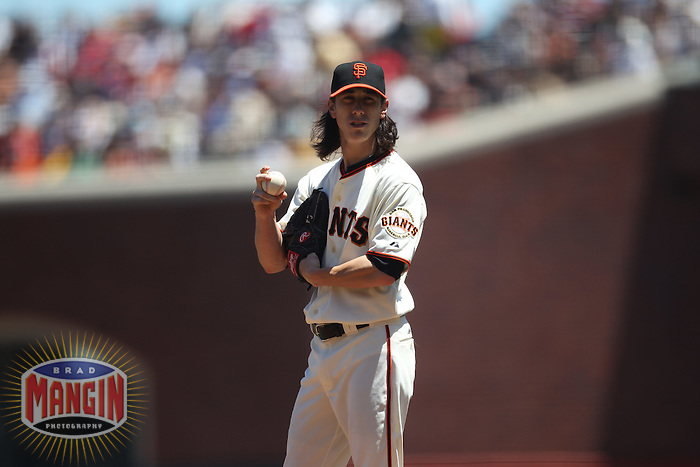 SAN FRANCISCO - JUNE 27:  Tim Lincecum of the San Francisco Giants pitches against the Boston Red Sox during the game at AT&T Park on June 27, 2010 in San Francisco, California. Photo by Brad Mangin