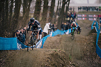 coming down the dirt jump descent<br /> <br /> GP Sven Nys (BEL) 2019<br /> U23 Men's Race<br /> DVV Trofee<br /> ©kramon