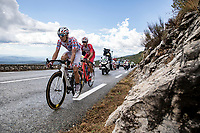 polka dot jersey Benoit Cosnefroy (FRA/AG2R La Mondiale) and Anthony Perez (FRA/Cofidis) in the early breakaway group up the Col de la Faye <br /> <br /> 107th Tour de France 2020 (2.UWT)<br /> (the 'postponed edition' held in september)<br /> Stage 3 from Nice to Sisteron 198km<br /> ©kramon