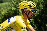 The peloton including Yellow Jersey Julian Alaphilippe (FRA) Deceuninck-Quick Step during Stage 5 of the 2019 Tour de France running 175.5km from Saint-Die-des-Vosges to Colmar, France. 10th July 2019.<br /> Picture: ASO/Alex Broadway | Cyclefile<br /> All photos usage must carry mandatory copyright credit (© Cyclefile | ASO/Alex Broadway)