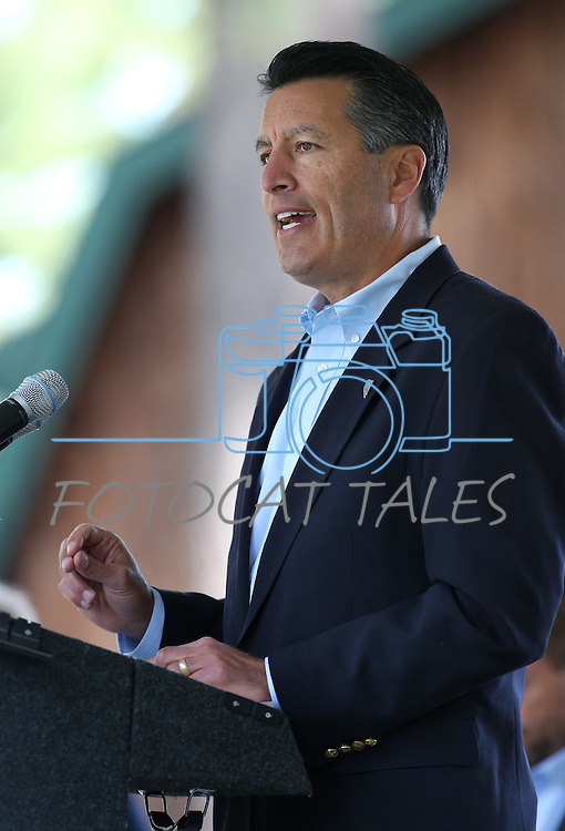 Gov. Brian Sandoval speaks at the 18th annual Lake Tahoe Summit at the Valhalla Estate in South Lake Tahoe, Ca., on Tuesday, Aug. 19, 2014. The event, which attracts government officials, scientists and educational and environmental agencies from California and Nevada, helps focus on environmental issues key to the preservation of the Lake Tahoe basin. (Las Vegas Review-Journal/Cathleen Allison)