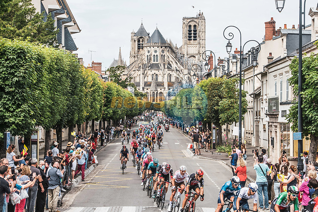 The peloton pass by the Cathedral of Bourges during Stage 7 of the 2021 Tour de France, running 249.1km from Vierzon to Le Creusot, France. 2nd July 2021.  <br /> Picture: A.S.O./Charly Lopez | Cyclefile<br /> <br /> All photos usage must carry mandatory copyright credit (© Cyclefile | A.S.O./Charly Lopez)