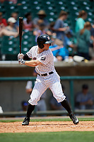 Birmingham Barons center fielder Ryan Brett (15) at bat during a game against the Pensacola Blue Wahoos on May 9, 2018 at Regions FIeld in Birmingham, Alabama.  Birmingham defeated Pensacola 16-3.  (Mike Janes/Four Seam Images)