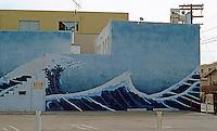Venice CA: Street Mural--Japanese Waves.  Photo '84.