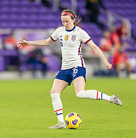 ORLANDO, FL - JANUARY 22: Rose Lavelle #16 of the USWNT passes the ball during a game between Colombia and USWNT at Exploria stadium on January 22, 2021 in Orlando, Florida.