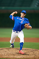 Cole Wilcox (11) of Heritage High School in Chickamauga, Georgia delivers a pitch during the Under Armour All-American Game presented by Baseball Factory on July 29, 2017 at Wrigley Field in Chicago, Illinois.  (Mike Janes/Four Seam Images)