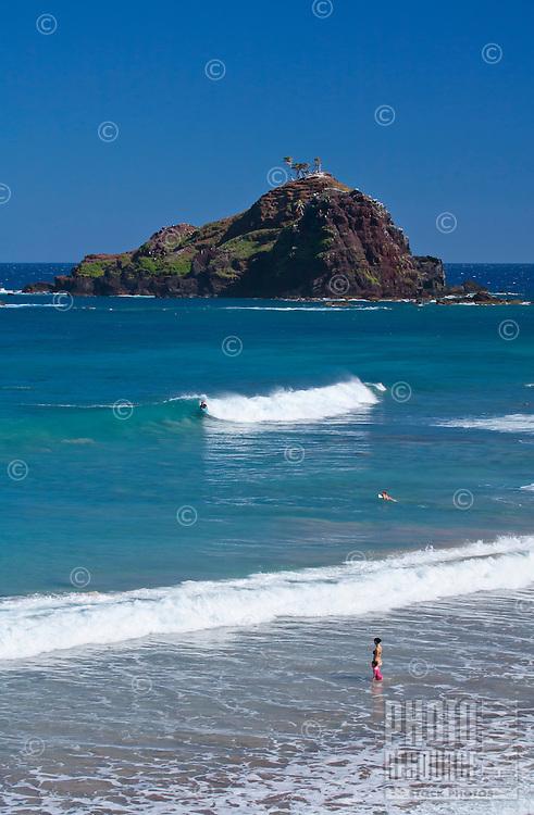 A beautiful day at Koki Beach, Hana, Maui, Hawaii, with Alau Island offshore.