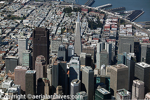 aerial photograph of San Francisco skyscrapers including Transamerica Pyramid, 555 California, Street, McKesson Plaza, Telegraph Hill and Coit Tower in the background, San Francisco, California
