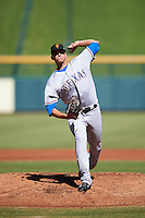 Surprise Saguaros pitcher Brett Martin (27), of the Texas Rangers organization, during a game against the Mesa Solar Sox on October 14, 2016 at Sloan Park in Mesa, Arizona.  Mesa defeated Surprise 10-4.  (Mike Janes/Four Seam Images)