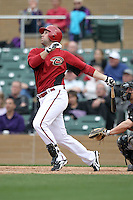 David Winfree #17 of the Arizona Diamondbacks plays against the Colorado Rockies in the inaugural spring training game at Salt River Fields on February 26, 2011 in Scottsdale, Arizona. .Photo by:  Bill Mitchell/Four Seam Images.