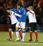 Bilel Mohsni with Jamie Bain and Willie McLaren after the final whistle