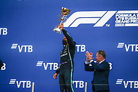 26th September 2021; Sochi, Russia; F1 Grand Prix of Russia, Race Day:  HAMILTON Lewis gbr, Mercedes AMG F1 GP W12 E Performance takes the winners trophy on the podium