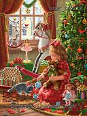 Liz,CHRISTMAS SYMBOLS, WEIHNACHTEN SYMBOLE, NAVIDAD SÍMBOLOS, LizDillon,presents,girl,rocking horse, paintings+++++,USHCLD0273,#XX#