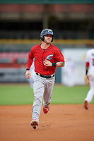 Columbus Clippers center fielder Tyler Naquin (6) running the bases during a game against the Louisville Bats on May 1, 2017 at Louisville Slugger Field in Louisville, Kentucky.  Columbus defeated Louisville 6-1  (Mike Janes/Four Seam Images)