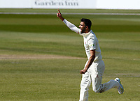 16th April 2021; Emirates Old Trafford, Manchester, Lancashire, England; English County Cricket, Lancashire versus Northants; Saqib Mahmood of Lancashire celebrates after he captures the wicket of Emilio Gay of Northamptonshire