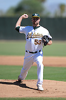 Oakland Athletics pitcher Joe Michaud (53) during an instructional league game against the San Francisco Giants on September 27, 2013 at Papago Park Baseball Complex in Phoenix, Arizona.  (Mike Janes/Four Seam Images)