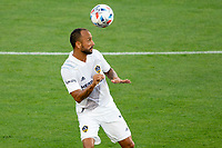 CARSON, CA - JUNE 19: Victor Vazquez #7 of the Los Angeles Galaxy heads a ball during a game between Seattle Sounders FC and Los Angeles Galaxy at Dignity Health Sports Park on June 19, 2021 in Carson, California.