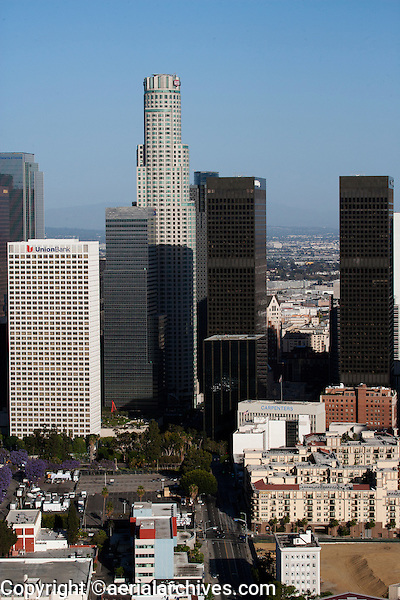 aerial photograph U. S. Bank Tower and adjacent skyscrapers, downtown Los Angeles, California