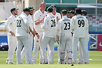 Luke Fletcher of Nottinghamshire celebrates with his team mates after taking the wicket of Nick Browne during Nottinghamshire CCC vs Essex CCC, LV Insurance County Championship Group 1 Cricket at Trent Bridge on 9th May 2021