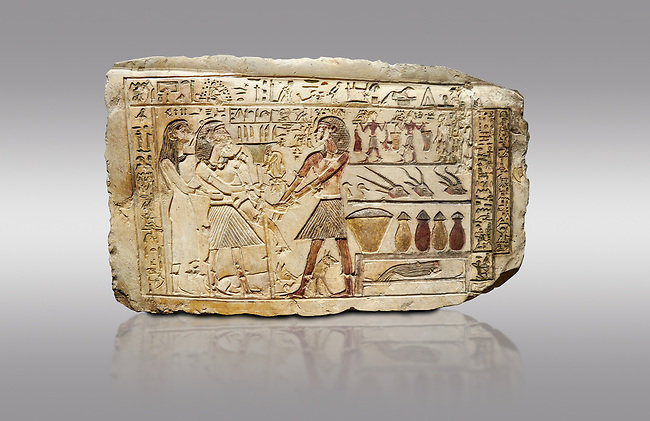 Ancient Egyptian stele showing Iti & Neferu receiving food offerings, First Intermediate Period, (2118-1980 BC), Gebelein, Tomb of Iti & Neferu,  Egyptian Museum, Turin. Grey background. Schiaparelli cat 13114.