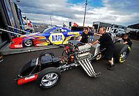 Jan 24, 2009; Chandler, AZ, USA; The car of NHRA funny car driver Ron Capps during testing at the National Time Trials at Firebird International Raceway. Mandatory Credit: Mark J. Rebilas-