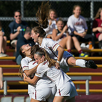 Newton, Massachusetts - October 22, 2017: NCAA Division I. University of Virginia (orange/white) defeated Boston College (white), 2-1, at Newton Campus Soccer Field.Goal celebration.