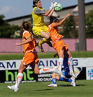 Sky Blue FC goalkeeper Jenni Branam (23) grabs a ball in traffic during the first half of a Women's Professional Soccer match against the Boston Breakers at Yurcak Field in Piscataway, NJ, on July 4, 2009.