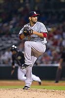 Pawtucket Red Sox relief pitcher Brayan Villarreal (15) in action against the Charlotte Knights at BB&T Ballpark on August 9, 2014 in Charlotte, North Carolina.  The Red Sox defeated the Knights  5-2.  (Brian Westerholt/Four Seam Images)
