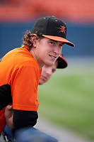 Frederick Keys pitcher Michael Baumann (36) in the dugout during the first game of a doubleheader against the Lynchburg Hillcats on June 13, 2018 at Nymeo Field at Harry Grove Stadium in Frederick, Maryland.  Frederick defeated Lynchburg 3-0.  (Mike Janes/Four Seam Images)