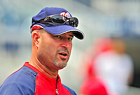 24 May 2009: Washington Nationals' Manager Manny Acta watches his team warm up prior to a game against the Baltimore Orioles at Nationals Park in Washington, DC. The Nationals rallied to defeat the Orioles 8-5 and salvage one win of their interleague series. Mandatory Credit: Ed Wolfstein Photo