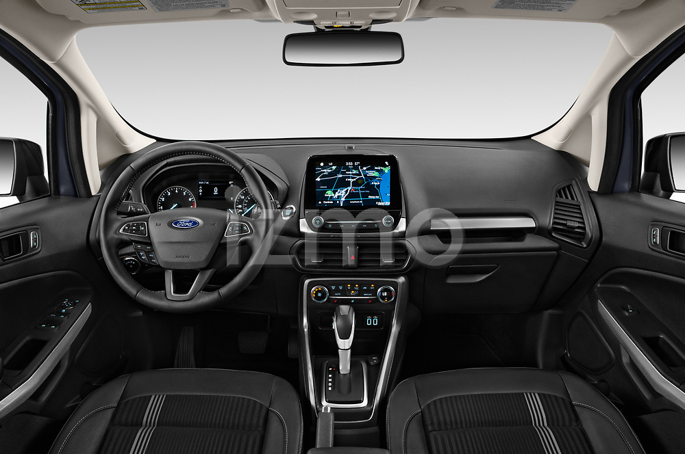Stock photo of straight dashboard view of a 2019 Ford EcoSport SES 5 Door SUV