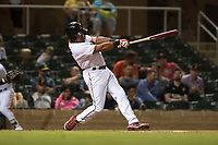 Salt River Rafters left fielder Jaylin Davis (30), of the Minnesota Twins organization, follows through on his swing during an Arizona Fall League game against the Scottsdale Scorpions at Salt River Fields at Talking Stick on October 11, 2018 in Scottsdale, Arizona. Salt River defeated Scottsdale 7-6. (Zachary Lucy/Four Seam Images)