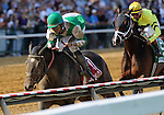 Royal Delta (no. 1), ridden by Ramon Dominguez and trained by William Mott, wins the 87th running of the grade 2 Black-Eyed Susan Stakes for three year old fillies on May 20, 2011 at Pimlico Race Track in Baltimore, Maryland.  (Bob Mayberger/Eclipse Sportswire)