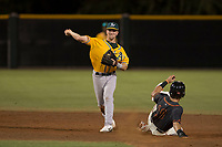 AZL Athletics second baseman Nick Ward (4) attempts to turn a double play during an Arizona League game against the AZL Giants Black at the San Francisco Giants Training Complex on June 19, 2018 in Scottsdale, Arizona. AZL Athletics defeated AZL Giants Black 8-3. (Zachary Lucy/Four Seam Images)