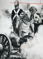 It was a real blast for Mayor David Crombie yesterday as he took his turn firing a cannon from Old Fort York to commemorate official opening of Ashbridge's Bay Waterfront Area - 42 acres of public parkland and 18 acres of protected water - at the foot of Coxwell Ave. Premier William Davis fired first.<br /> <br /> Photo : Boris Spremo - Toronto Star archives - AQP