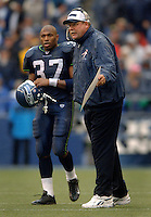 Oct 23, 2005; Seattle, Wash, USA;  Seattle Seahawks running back #37 Shaun Alexander looks on as head coach Mike Holmgren argues with a referee during their game against the Dallas Cowboys at Qwest Field. Mandatory Credit: Photo By Mark J. Rebilas