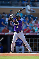 Irving Falu (4) of the Louisville Bats at bat against the Durham Bulls at Durham Bulls Athletic Park on August 9, 2015 in Durham, North Carolina.  The Bulls defeated the Bats 9-0.  (Brian Westerholt/Four Seam Images)
