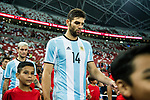 Federico Fazio of Argentina getting into the field during the International Test match between Argentina and Singapore at National Stadium on June 13, 2017 in Singapore. Photo by Marcio Rodrigo Machado / Power Sport Images