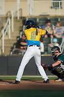 Johan Cruz (9) of the Rapidos de Kannapolis at bat against the Greensboro Grasshoppers at Kannapolis Intimidators Stadium on June 14, 2019 in Kannapolis, North Carolina. The Grasshoppers defeated the Rapidos de Kannapolis 4-1. (Brian Westerholt/Four Seam Images)