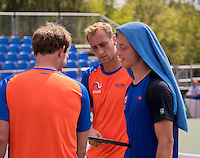 Moscow, Russia, 13 th July, 2016, Tennis,  Davis Cup Russia-Netherlands, Training Dutch team, Matwe Middelkoop (NED) (L) and Tim van Rijthoven, in the middle Thiemo De Bakker (NED)<br /> Photo: Henk Koster/tennisimages.com