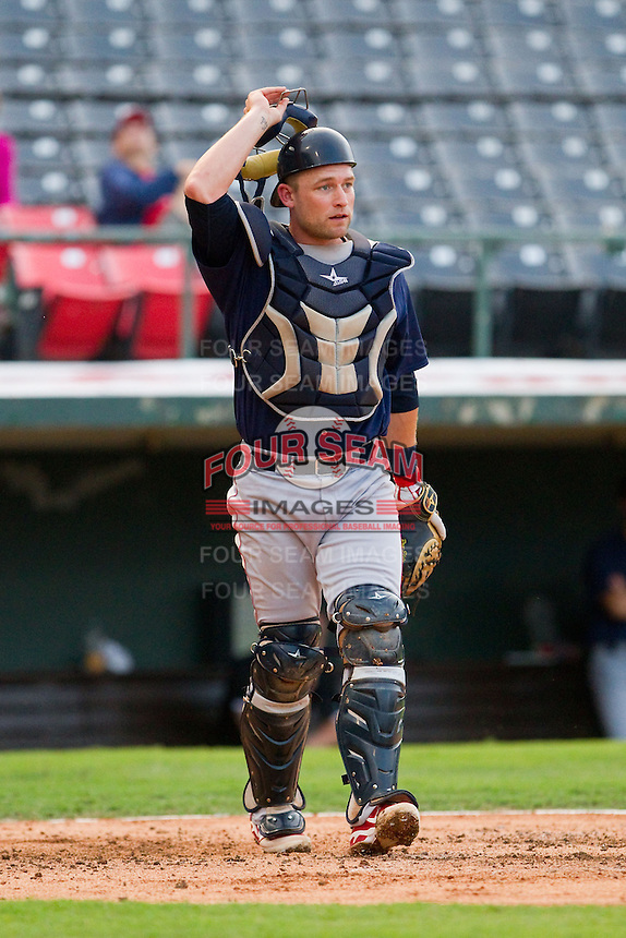 Lehigh Valley IronPigs catcher Steven Lerud (9) on defense against the Charlotte Knights at Knights Stadium on August 6, 2013 in Fort Mill, South Carolina.  The IronPigs defeated the Knights 4-1.  (Brian Westerholt/Four Seam Images)