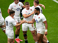 Joe Cokanasiga (Bath Rugby) of England celebrates his 1st try during the Autumn International match between England and Canada at Twickenham Stadium, London, England on 10 July 2021. Photo by Liam McAvoy.